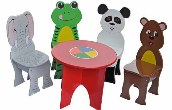 Charmant Jungle Animals Table And 4 Chairs Set (CRTV1 HBB9)